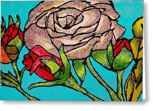 A Sun Among Roses Greeting Card by Guadalupe Herrera