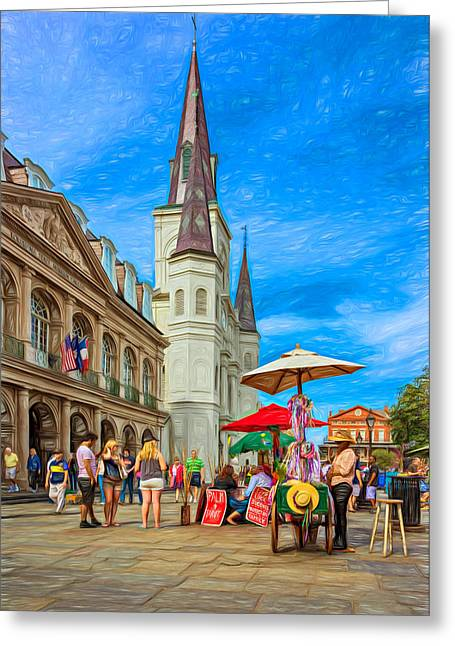 A Sunny Afternoon In Jackson Square 2 Greeting Card by Steve Harrington