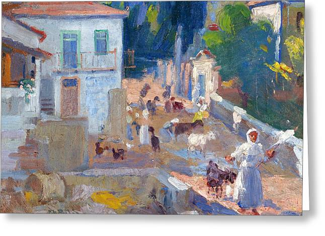 A Sunny Village Road Greeting Card by Georgios Roilos