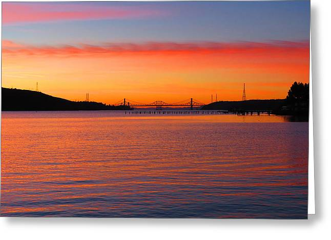 A Sunset And A Bridge Greeting Card by Brian Maloney