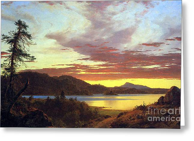 A Sunset By Frederick Edwin Church Greeting Card