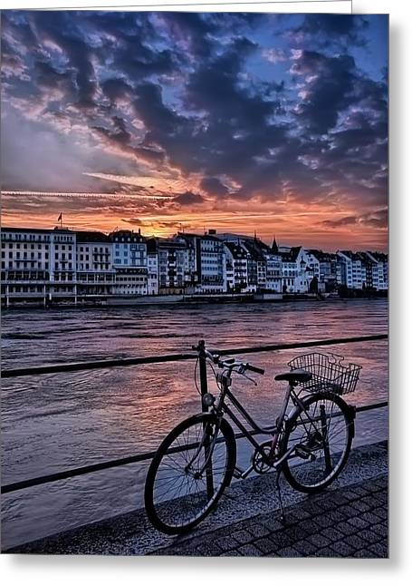 A Sunset Cycle By The Rhine Basel Greeting Card by Carol Japp