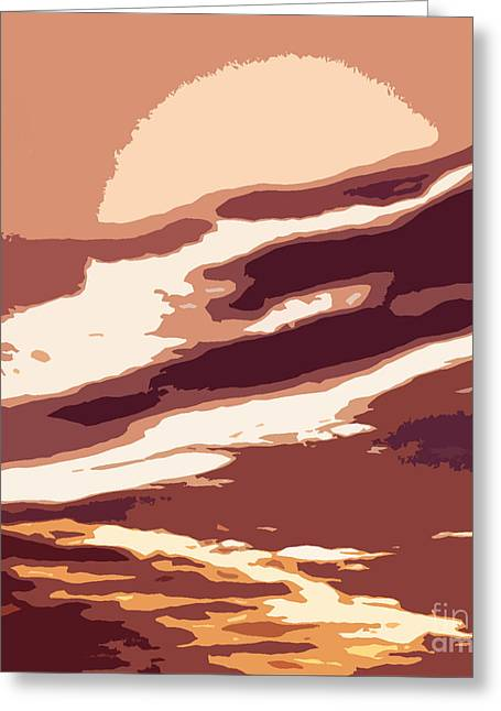 A Sunset In The Valley. Digital Drawing Greeting Card