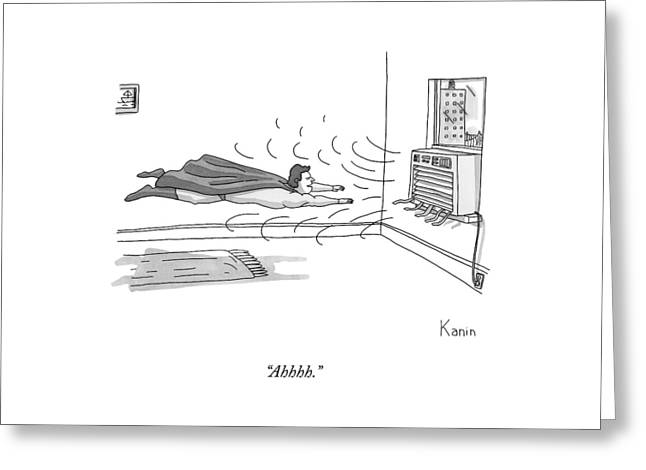 A Superhero Flies In Front Of An Air Conditioner Greeting Card