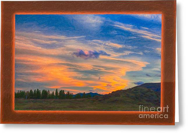 A Surprise Sunset Visit Landscape Painting Greeting Card by Omaste Witkowski