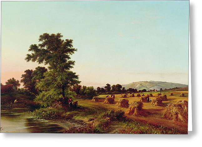 A Surrey Cornfield Greeting Card by Walter Williams