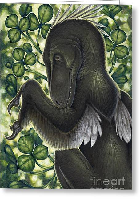 A Suspicious Deinonychus Antirrhopus Greeting Card by H. Kyoht Luterman