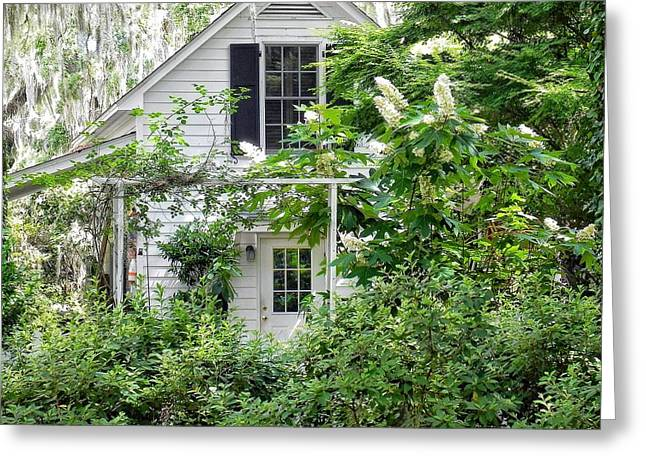A Swell Side Entrance With Oakleaf Hydrangea Greeting Card
