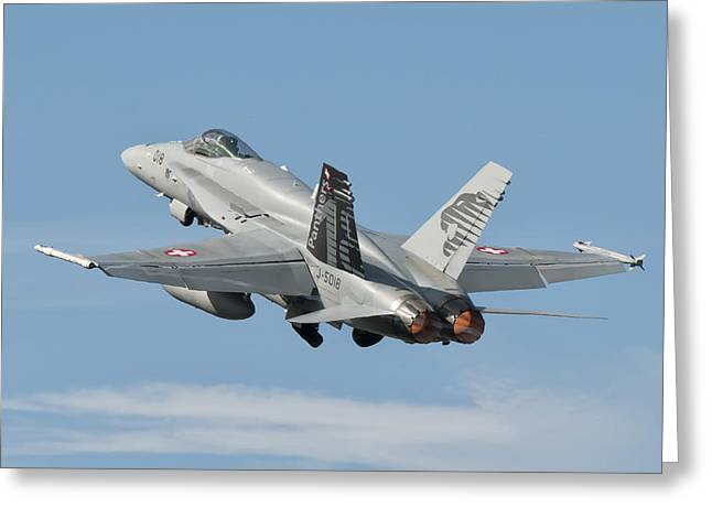 A Swiss Air Force Fa-18c During Tlp Greeting Card by Giovanni Colla