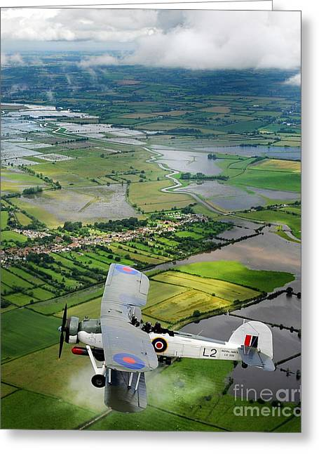 Greeting Card featuring the photograph A Swordfish Aircraft With The Royal Navy Historic Flight. by Paul Fearn
