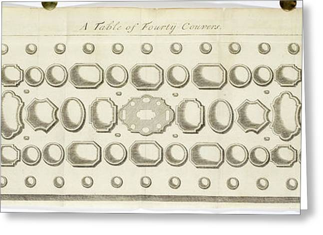 A Table Of Forty Covers. Place Settings Greeting Card by British Library