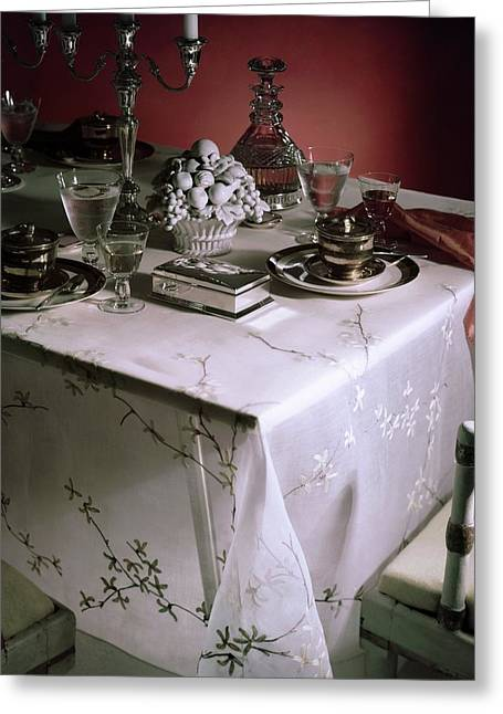 A Table Set With Delicate Tableware Greeting Card