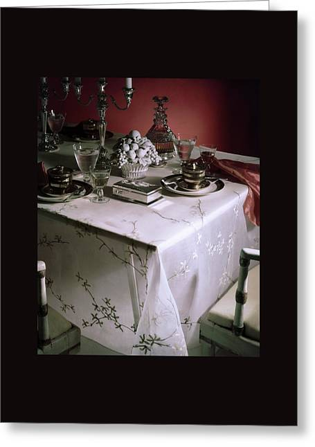 A Table Set With Delicate Tableware Greeting Card by Horst P. Horst