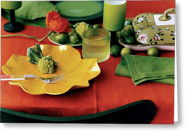 A Table Setting With Pieces By Ralph Lauren Greeting Card by Martyn Thompson
