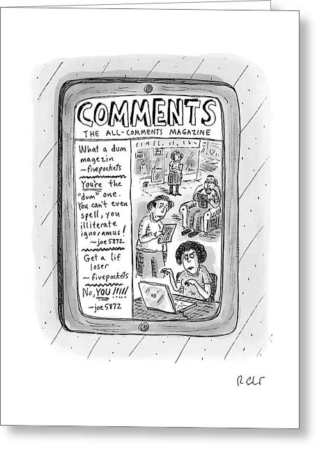 A Tablet Displays The All-comments Magazine Greeting Card