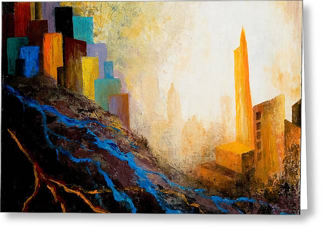 A Tale Of Three Cities Greeting Card by Larry Martin