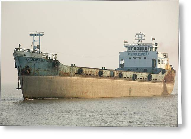 A Tanker In The Sunderbans Greeting Card by Ashley Cooper
