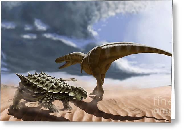 A Tarbosaurus Dinosaur And An Armored Greeting Card