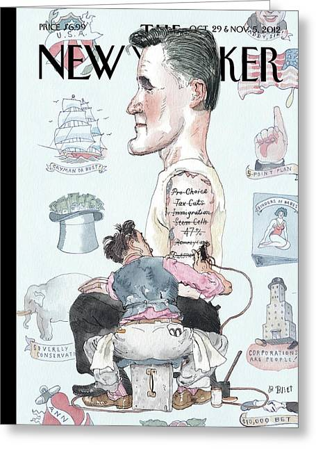 A Tattoo Artist Performs On A Presidential Greeting Card by Barry Blitt
