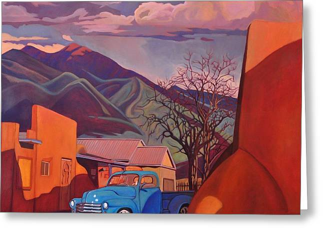 A Teal Truck In Taos Greeting Card by Art James West