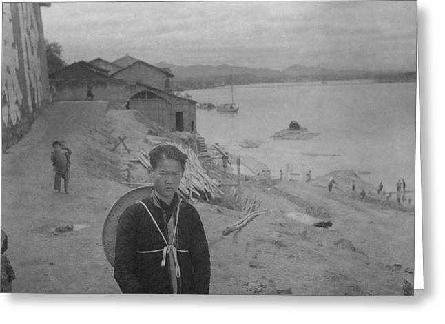 A Teenage Boy By Min River In Sichuan Greeting Card by Cecil Beaton