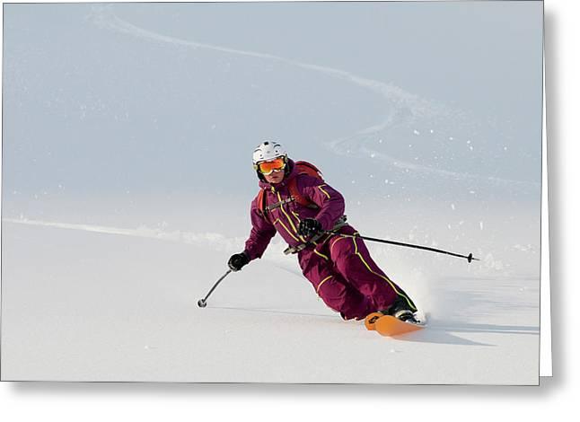A Telemark Skier Skis Down  Lissje Greeting Card