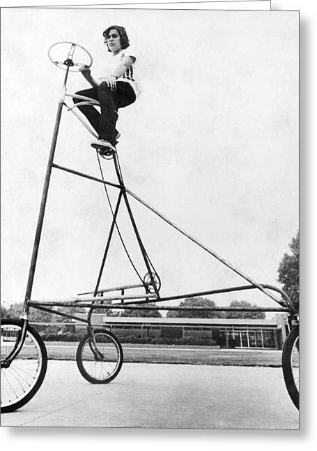 A Ten Foot Tall Tricycle Greeting Card by Underwood Archives