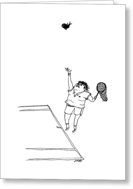 A Tennis Player Holds A Fishing Net Instead Greeting Card