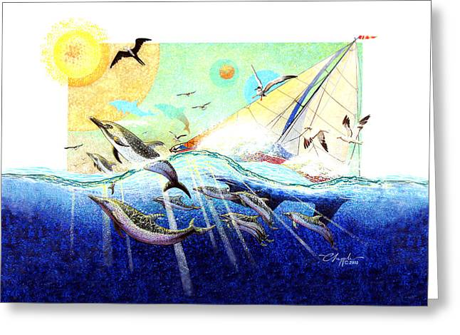 Greeting Card featuring the painting A Tern With The Dolphins by David  Chapple