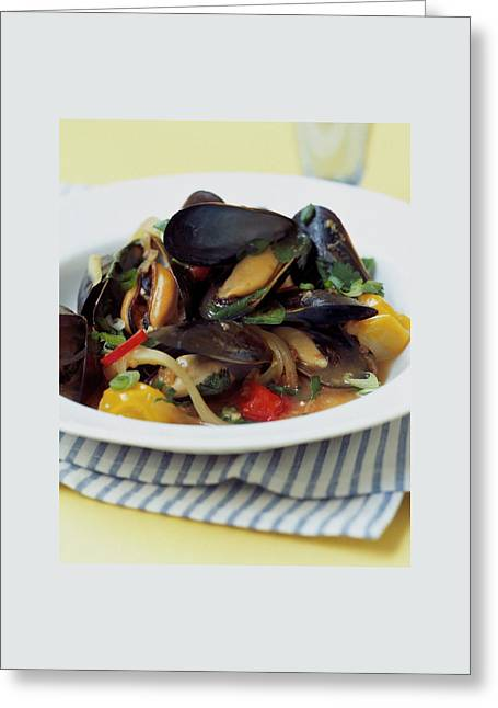 A Thai Dish Of Mussels And Papaya Greeting Card by Romulo Yanes