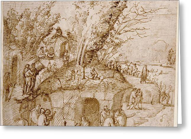 A Thebaid Monks And Hermits In A Landscape Lorenzo Costa Greeting Card