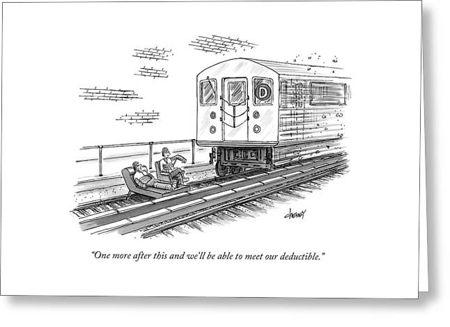 A Therapist Speaks To A Patient On Train Tracks Greeting Card
