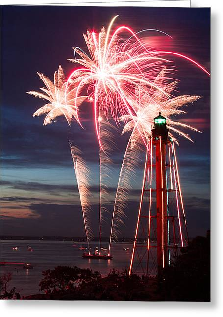 A Three Burst Salvo Of Fire For The Fourth Of July Greeting Card