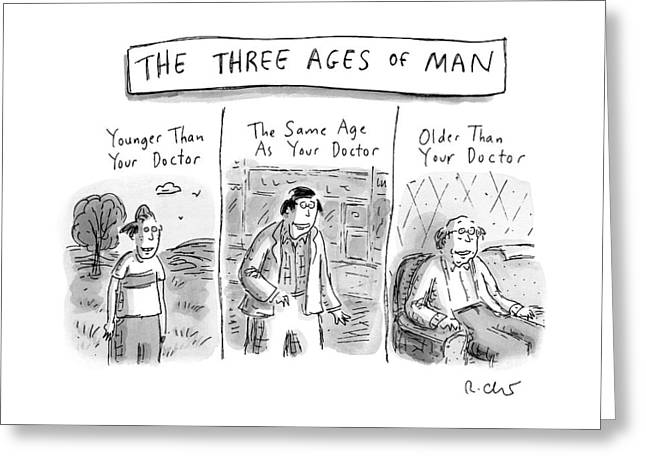 A Three Panel Images That Have Three Men: Greeting Card
