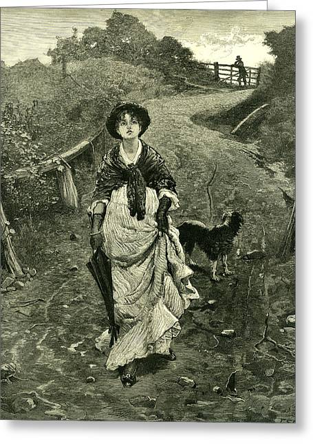 A Tiff 1878 Outdoors Nature Walk Woman Dog Fence Man Greeting Card by English School