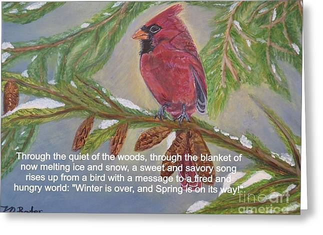 A Tired And Hungry World Hears The Sweet And Savory Song Of A Cardinal Greeting Card by Kimberlee Baxter