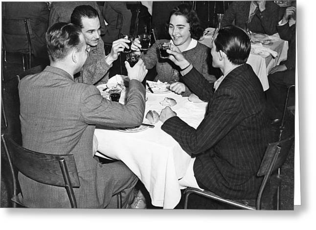 A Toast Amongst Friends Greeting Card by Underwood Archives