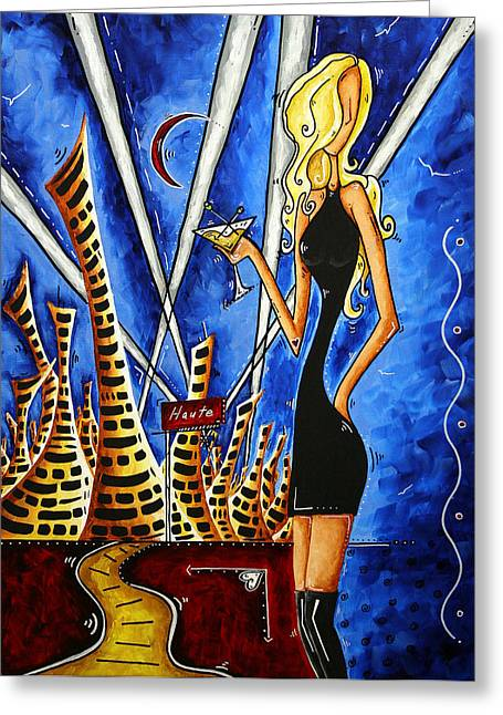 A Toast To The Little Black Dress By Madart Greeting Card by Megan Duncanson