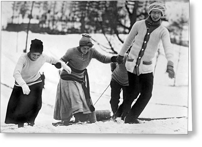 A Toboggan Party Greeting Card by Underwood Archives