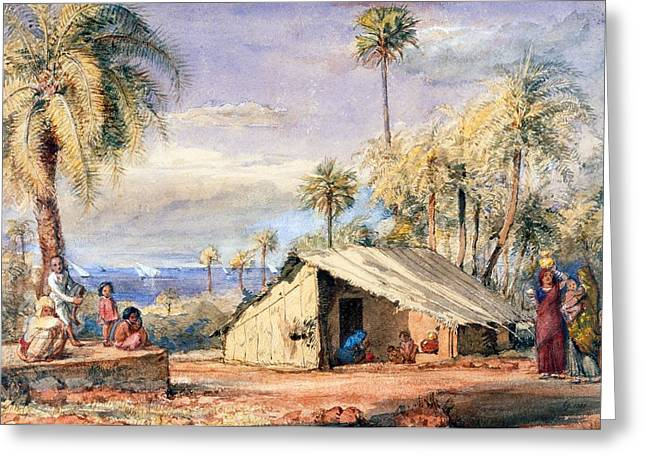 A Toddy-drawers Hut In A Grove Of Date Greeting Card by English School