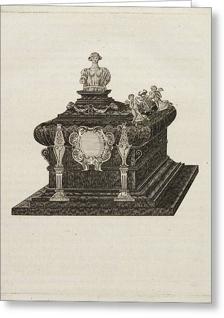 A Tomb Or Casket With A Bust Or Statue Greeting Card