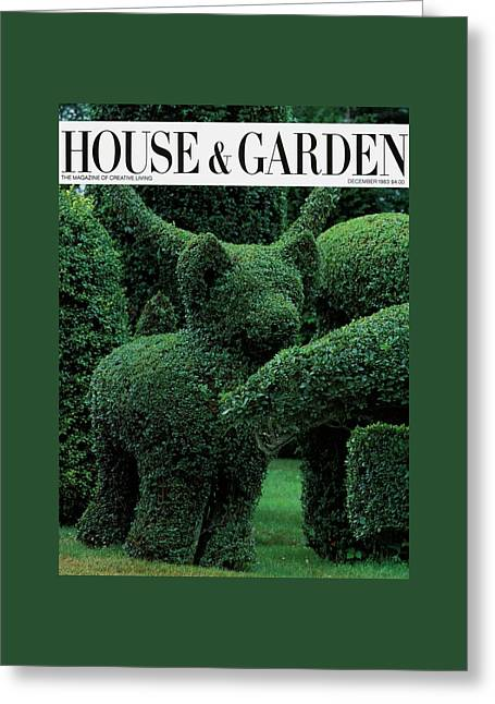 A Topiary Bear In Alice Braytons Green Animals Greeting Card by Horst P. Horst