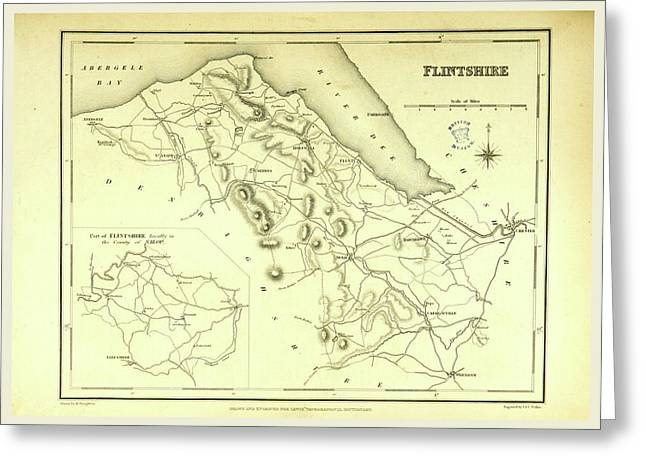 A Topographical Dictionary Of Wales, Flintshire Greeting Card by Litz Collection