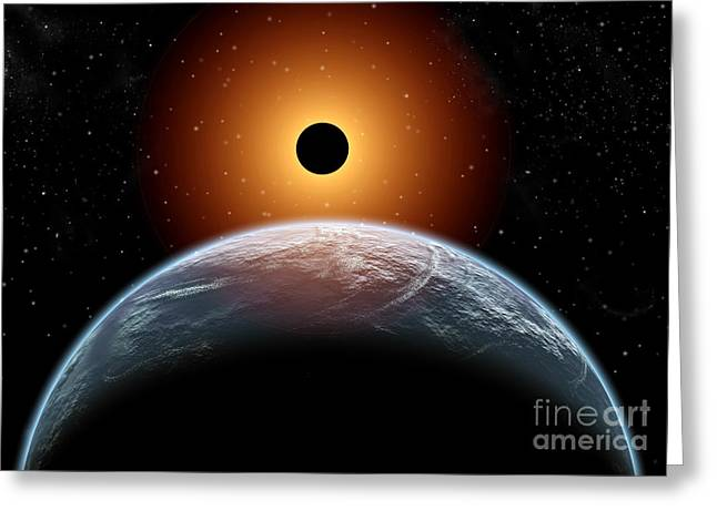 A Total Eclipse Of The Sun As Seen Greeting Card by Mark Stevenson