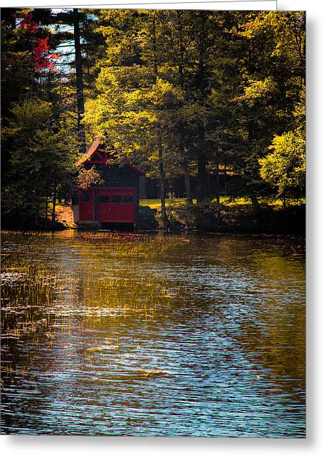 A Touch Of Autumn At The Red Boathouse Greeting Card by David Patterson