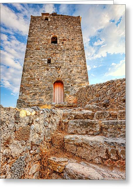 A Tower In Kardamyli - Greece Greeting Card by Constantinos Iliopoulos