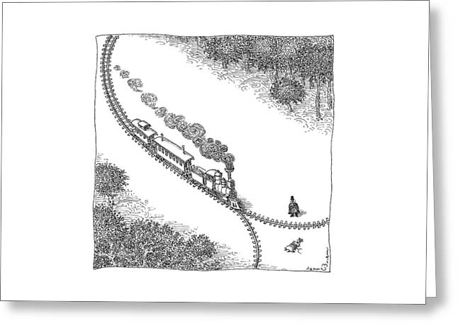 A Train Heads Toward A Tied Up Victim Traveling Greeting Card