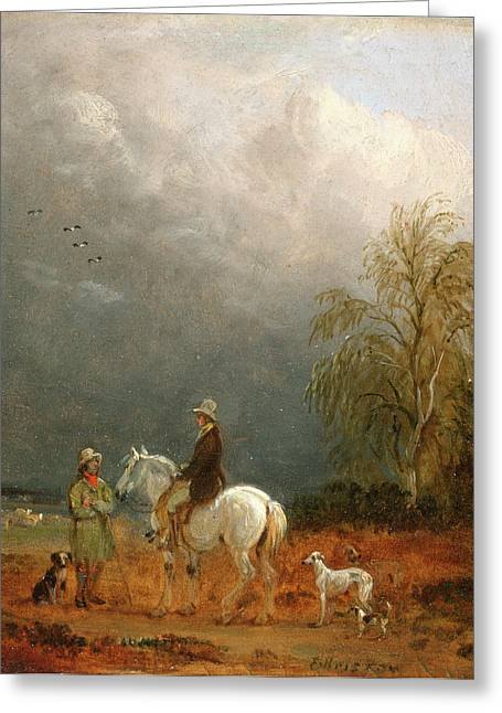 A Traveller And A Shepherd In A Landscape Signed Lower Greeting Card