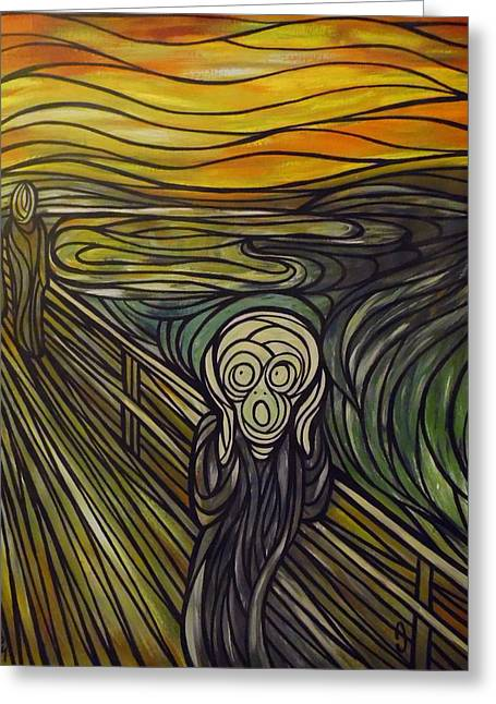 A Tribute To The Scream Greeting Card by Anthony Schwed