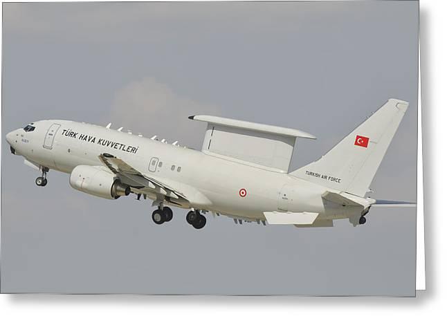 A Turkish Air Force Boeing 737 Aew Greeting Card